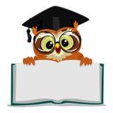 显示一本开放空的书的猫头鹰 免版税库存图片