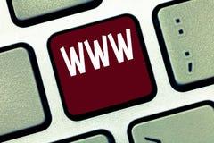 显示万维网的概念性手文字 格式化在HTML和访问的网上内容企业照片陈列的网络 免版税图库摄影