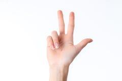 显示三个手指的人的手势隔绝在白色背景 免版税库存图片