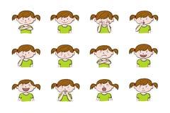 显示不同的情感的女孩的12个例证的汇集 向量例证