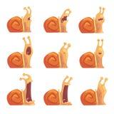 显示不同的情感的逗人喜爱的动画片蜗牛设置了,滑稽的蜗牛字符传染媒介例证 库存图片
