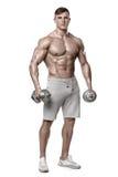 显示与哑铃的性感的运动人强健的身体,全长,被隔绝在白色背景 强的男性赤裸躯干吸收 免版税库存照片