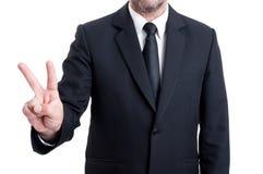 显示与手指的商人第二 图库摄影