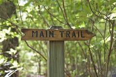 显示与词和箭头的木标志主要足迹方向 库存照片