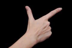 显示两个手指的妇女手 库存图片