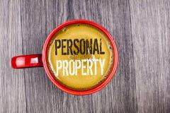 显示个人财产的文字笔记 书面的企业照片陈列的财产财产财产私人个体所有者 免版税库存照片