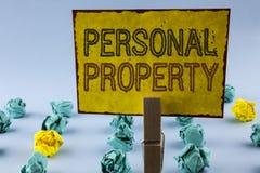 显示个人财产的文字笔记 书面的企业照片陈列的财产财产财产私人个体所有者 库存图片