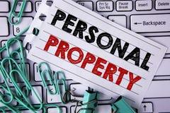 显示个人财产的文字笔记 书面的企业照片陈列的财产财产财产私人个体所有者 图库摄影