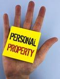 显示个人财产的文字笔记 书面的企业照片陈列的财产财产财产私人个体所有者 免版税图库摄影