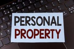 显示个人财产的文本标志 在稠粘写的概念性照片财产财产财产私人个体所有者没有 免版税库存图片
