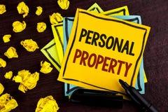 显示个人财产的概念性手文字 企业照片陈列的财产财产财产私人个体owne 图库摄影