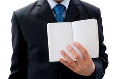 显示书的空白页商人 免版税库存照片