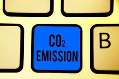 显示二氧化碳排放的概念性手文字 企业照片文本释放温室气体入大气随着时间的推移Keyb 皇族释放例证