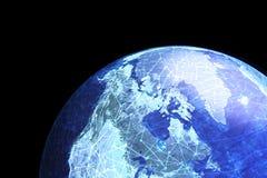 显示互联网和网上连接的地球 库存照片