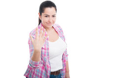 显示五个手指的女性 库存照片
