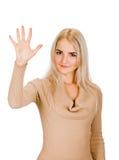 显示五个手指的微笑的妇女画象 库存图片