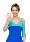 显示五个手指的愉快的微笑的人画象  库存图片