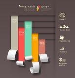 显示五颜六色的纸卷infographics图表 免版税图库摄影