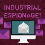显示产业间谍活动的概念性手文字 企业照片为商务举办的间谍活动的文本形式 库存例证