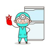 显示人的心脏传染媒介的动画片心脏科医师 库存例证