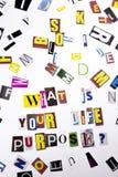 显示什么的概念词文字文本是您的生活目的问题由事务的另外杂志报纸信件制成 免版税库存照片