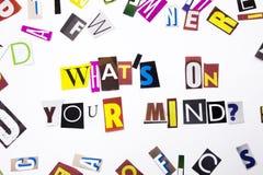 显示什么` S的概念在您的头脑问题的词文字文本做了企业案件的另外杂志报纸信件 免版税库存图片
