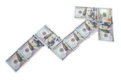 显示从一百美元票据的箭头图收入  在一个空白背景 查出 免版税库存图片