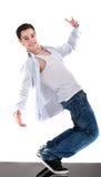 显示他的技能的冷静舞蹈演员 免版税库存图片