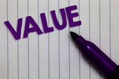 显示价值的文本标志 概念性照片或某人被认为高度重大可贵的笔记薄记号笔想法Th某事 免版税库存照片