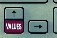 显示价值的概念性手文字 企业照片文本看待某事举行需要重要性相当价值  图库摄影