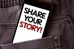 显示份额您的故事的文字笔记诱导电话 企业照片陈列的经验乡情记忆个人词wri 图库摄影