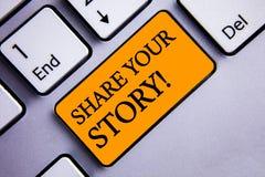 显示份额您的故事的概念性手文字诱导电话 企业照片文本经验乡情记忆个人文本 免版税库存照片