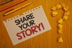 显示份额您的故事的概念性手文字诱导电话 企业照片文本经验乡情记忆个人词 免版税图库摄影