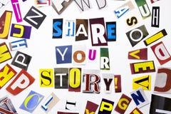 显示份额的概念您的故事的词文字文本由企业案件的另外杂志报纸信件制成在白色 免版税库存图片