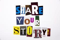 显示份额的概念您的故事的词文字文本由企业案件的另外杂志报纸信件制成在白色 库存图片