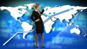显示企业图表的女实业家的动画 影视素材