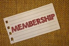 显示会员资格的文本标志 是概念性的照片小组的成员零件或队加入organizationNotebook页想法messa 免版税库存图片