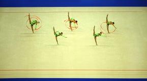 显示体操运动员丝带 免版税库存图片