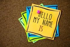 显示你好我的名字的文字笔记是 企业照片陈列自我介绍会议某人新的介绍纸好漂亮的东西或人 免版税库存图片