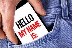 显示你好我的名字的概念性手文字是 企业照片陈列的会议某人新的介绍采访Presentatio 免版税库存照片