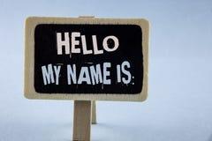 显示你好我的名字的概念性手文字是 企业照片陈列的会议某人新的介绍采访Presentatio 库存图片