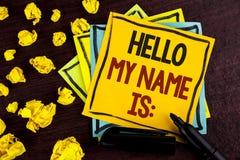 显示你好我的名字的概念性手文字是 企业照片陈列的会议某人新的介绍采访Presentatio 免版税库存图片
