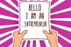 显示你好我的文本标志是  企业家 设定的概念性照片人事务或起动供以人员举行纸impo 皇族释放例证