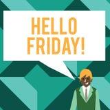 显示你好星期五的概念性手文字 企业照片文本曾经表示从新星期初期的高兴  库存例证