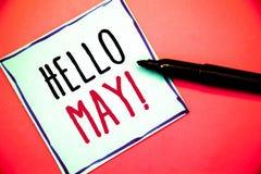 显示你好的概念性手文字诱导电话 企业开始照片的文本一个新的月4月在SpringIdeas m 图库摄影