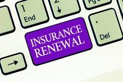 显示保险更新的概念性手文字 企业照片文本保护免受经济损失继续 库存照片