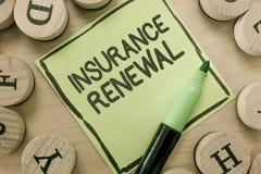 显示保险更新的概念性手文字 企业照片陈列的保护免受经济损失继续协议 免版税库存照片