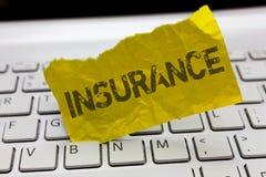 显示保险的文本标志 保证的概念性照片安排公司或状态为指定的损失 免版税库存照片