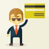 显示信用卡的人的例证 库存照片