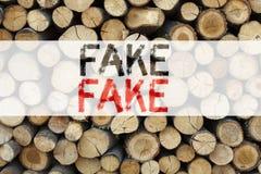 显示假新闻的概念性公告文本说明启发假新闻企业概念写在木背景机智 免版税库存图片